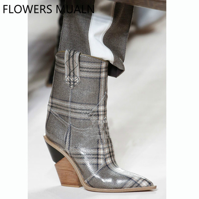 cb14381b6f3 2018 New Arrival Famous Brand Fashion Show Boots Women Pointed Toe  Crocodile Pattern Real Leather Botas Lady Slip On Wedges Heel