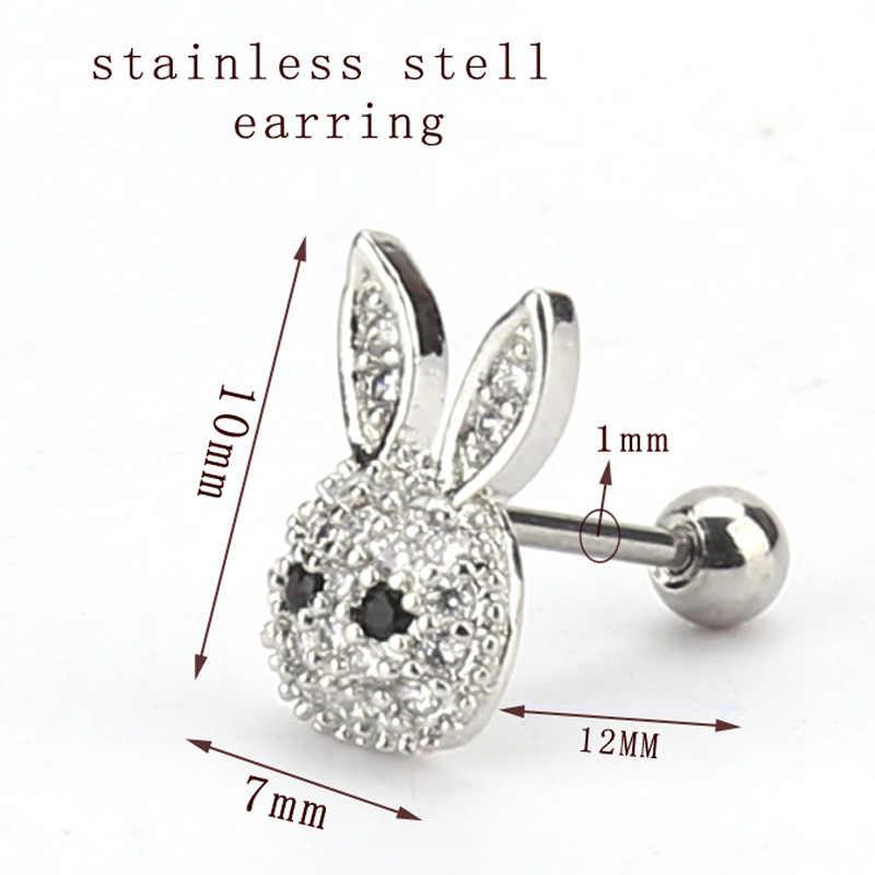 Ze stali nierdzewnej mini królik kolczyk Tiny Cristal ucha biżuteria dla kobiet 1 pc sprzedaż