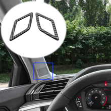 For Audi Q3 2019 2020 ABS Matte/Carbon fibre Car Front column Sound decoration Cover Trim Car Styling Accessories 2pcs for audi q3 2019 2020 abs matte carbon fibre car front column sound decoration cover trim car styling accessories 2pcs