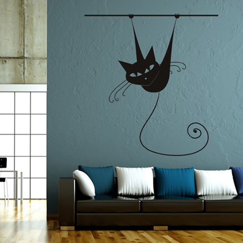 Hot Sale Animal Siamese Cat On Rod Living Room Wall Stickers Home Decor Removable Vinyl Wall Decal Mural ...