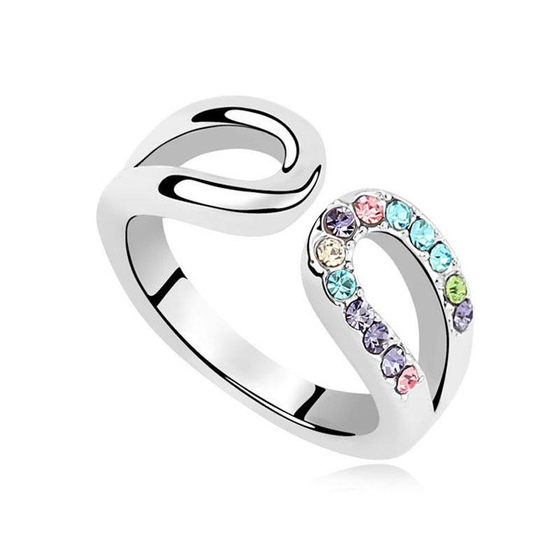 LNRRABC 2018 new Special Rings Gifts Double Colorful For U-shaped Women Fashion Shiny rings for women jewelry wedding ring