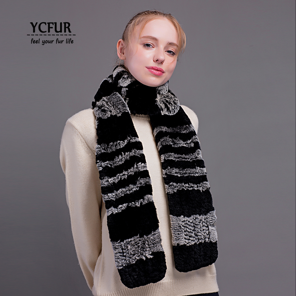[YCFUR] Fashion Women   Scarves     Wraps   Winter Knit Rex Rabbit Fur   Scarf   Female Soft Warm Real Fur Long   Scarf   Ladies
