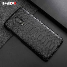 IMIDO Luxury Leather PU Phone Case For One Plus 6 6T SnakeSkin Pattern Design Back Cover Coque Fundas