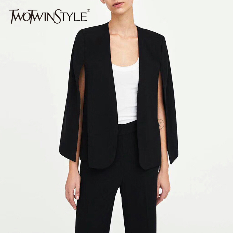 TWOTWINSTYLE Cloak Blazer For Women Striped Split Long Sleeve Basic Jacket Cardigan Female Autumn 2019 Fashion OL Clothing