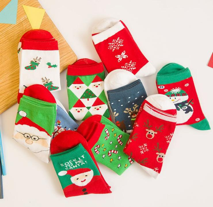 Christmas Milu Deer Snow Couples Cotton Middle Tube Warm Soft Wholesale Socks Females Socks Mix 5pairs Pregnant Women Cotton In Many Styles Kleidung & Accessoires