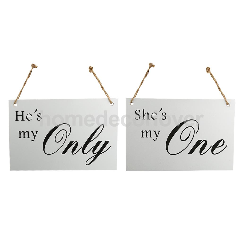 2pcs Wedding Wooden Party Table Decor Standing Sign Door Wall Chair Hanging Sign