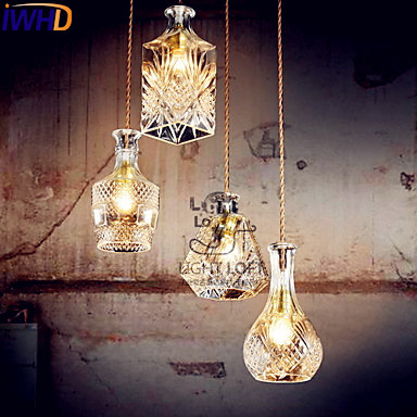 IWHD Glass Bottle Modern LED Pendant Lights Fixtures Home Indoor Lighting Hanging lamp Lustres Lamparas Colgantes glass led pendant chandelier lustres pending lighting for bed room lamparas hanging lights fixtures abajur luminaire suspend e14
