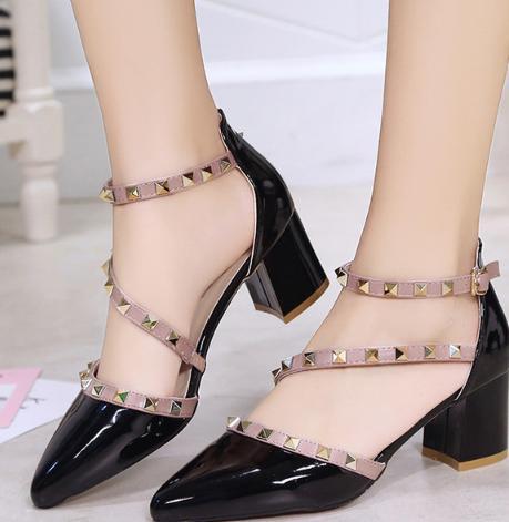 2018 Con Mujer Sandalias Tacón Damas Moda rosado Zapatos Alto De Cómodo blanco Remaches Negro 0rX1x0f