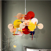 Modern Multicolor DIY Wooden Pendant Light Creative Italy Designer Kid's room Hanging Light Led Light Fixtures Free Shipping