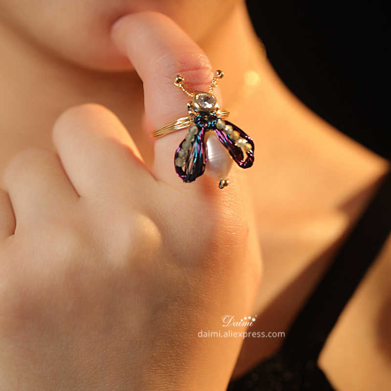 DAIMI Pearl Ring Handmade Designer Jewelry DIY Jewelry Bee Ring Unique Gift for Women