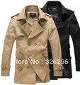 Outono homem britânico trincheira dupla Breasted casacos casaco de inverno Slim Fit casacos para homens
