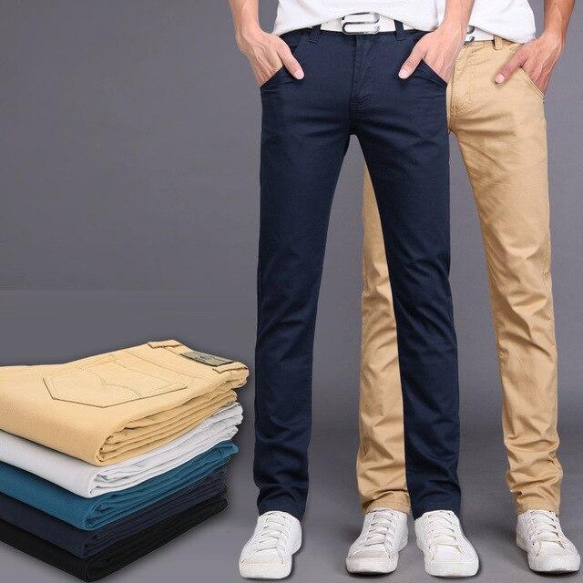 Brand Autumn Winter New Fashion 2016 Slim Straight Men Casual Pants Man Pocket Trousers Plus Size Free Shipping