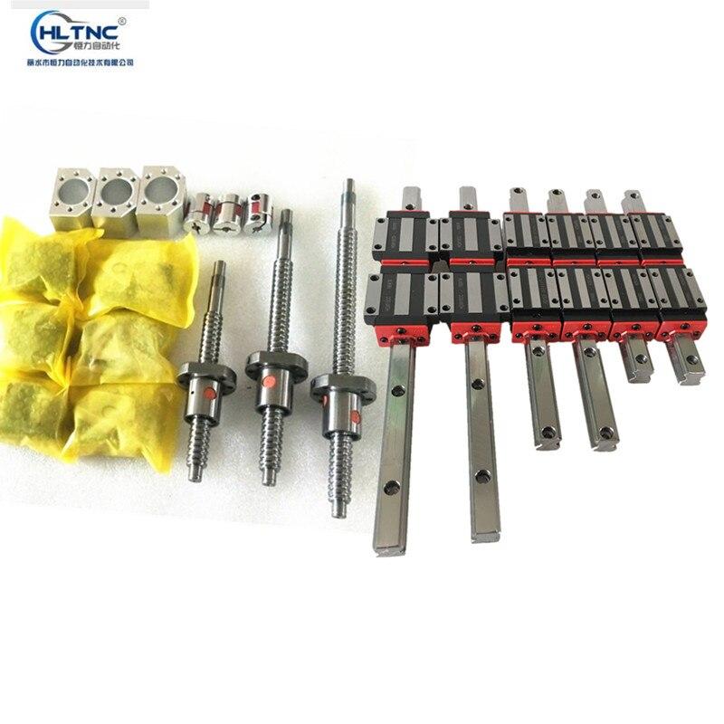 Nouveau rail linéaire 15mm/20mm HGR15/20-300/600/800 + 3 vis à billes SFU1605M + vis à billes 3BK/BF12 support + 3 coupleurs pour CNC