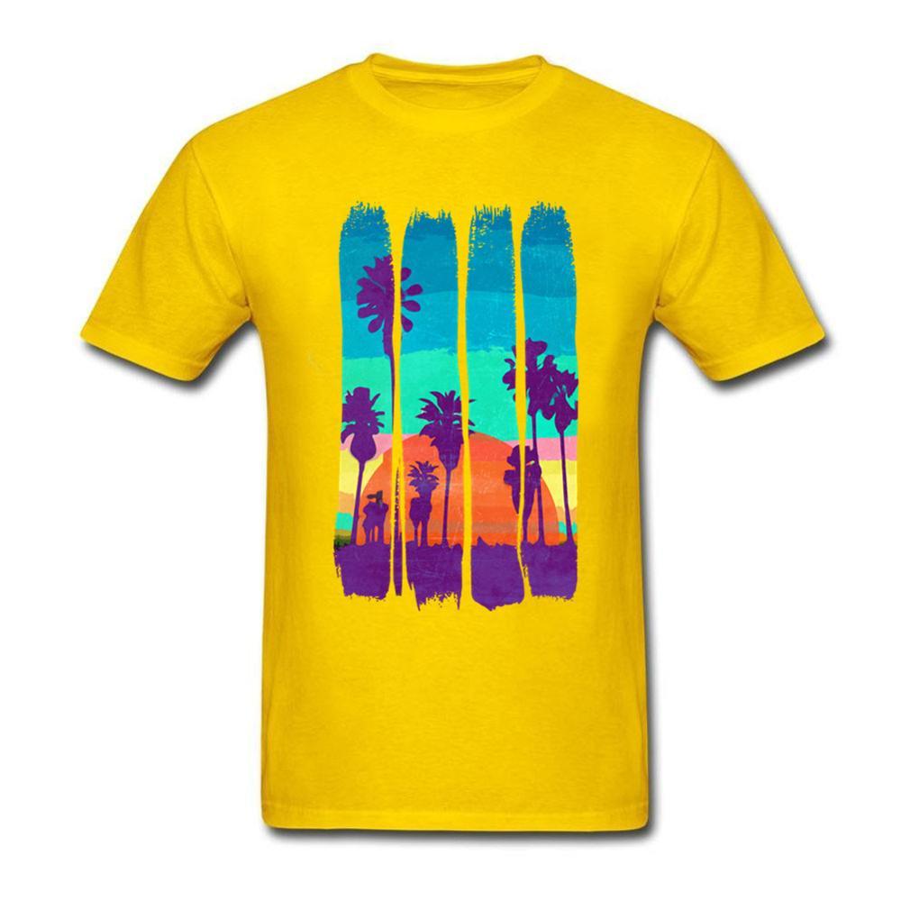 2018 Vintage Brush Strokes Miami Beach Printed T shirt