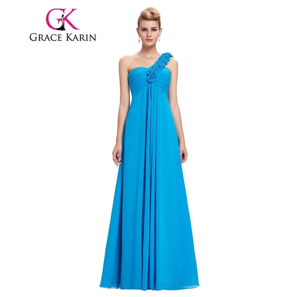 Grace Karin Evening Dresses Long One Shoulder Floor Length Chiffon ...