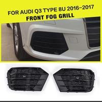 Car Styling ABS Black Car Mesh Fog Light Grille Covers For Audi Q3 8U Standard Bumper