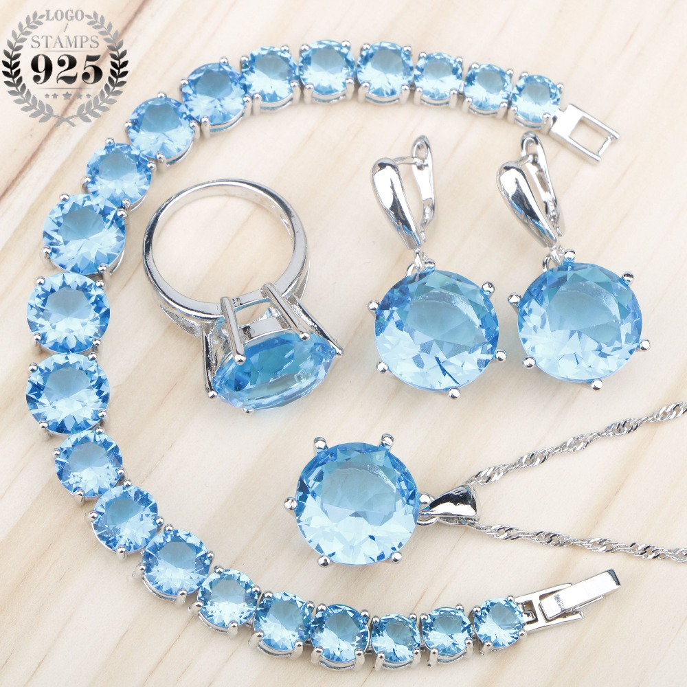 Round Blue Stones Silver 925 Costume Bridal Jewelry Sets Earrings Necklace Pendant Ring Bracelets For Wedding Women Set Free Box