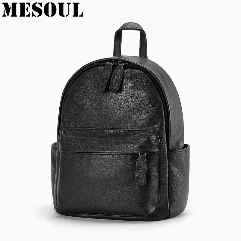 Daily Backpack Girl School Bag Genuine Leather Women Backpacks Shoulder Bags Fashion Cowhide Student Schoolbag Mujeres Mochila new fashion faux leather backpack woman backpacks for women for the traveling lady tote bags pu leather champagne girl daily bag