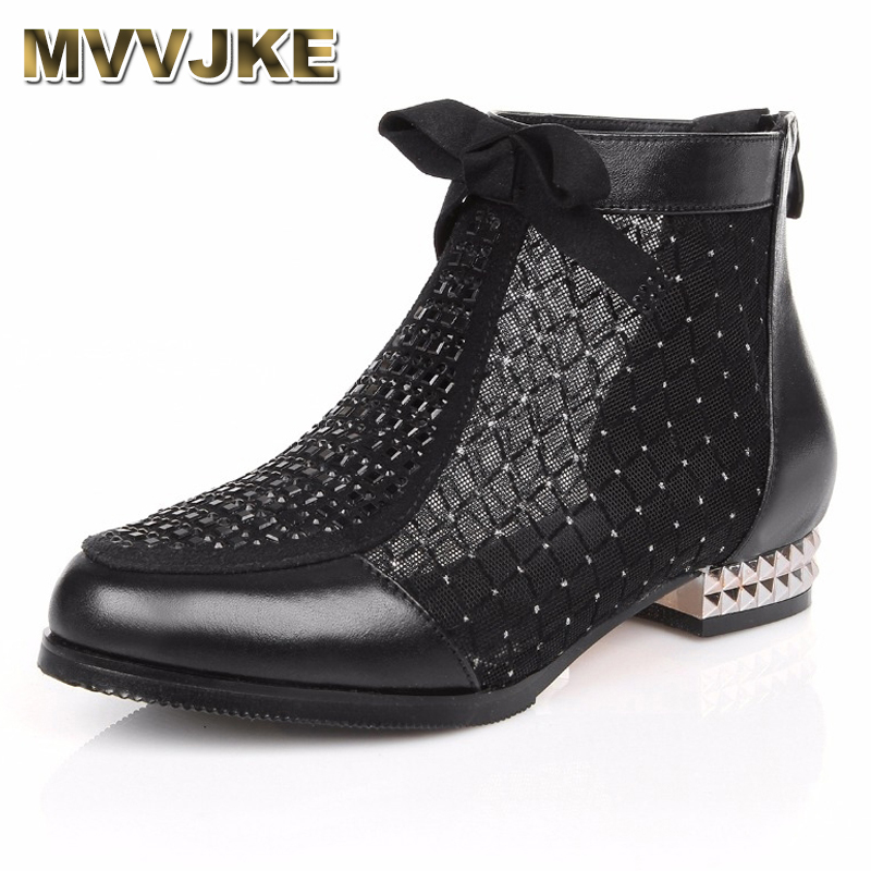 MVVJKE 2018 Spring Summer New Bow Genuine Leather Women Boots Hollow Mesh Ankle Boots Comfortable Low Heels Fashion Shoes aiyuqi 2018 new spring genuine leather female comfortable shoes bow commuter casual low heeled mother shoes woeme