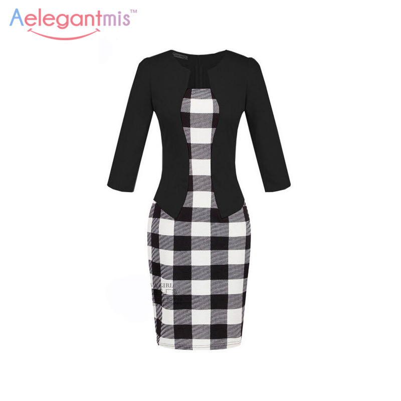Gift Sashes Womens Elegant Belted Tartan Wear to Work Business Dress Lady Autumn Long Sleeve Plaid Office Pencil Dress Plus Size tartan