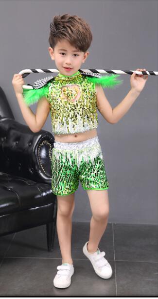 Детская одежда с блестками для бальных танцев, джаз, хип-хоп, сценическая одежда, костюмы для выступлений, одежда, топ, рубашка, шорты, сценическая одежда для мальчиков и девочек, танцевальные костюмы - Цвет: Оранжевый