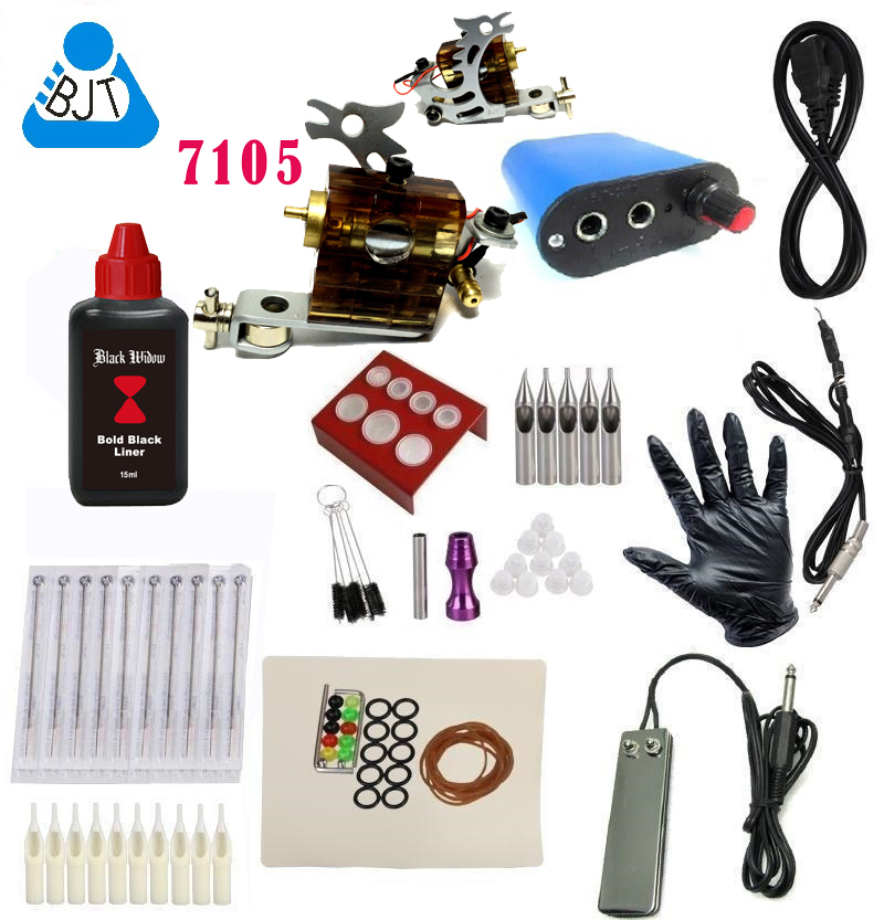 ФОТО Cheap beginner Tattoo Kit Rotary Tattoo Machine Gun Black Ink Power Pedal Needles Grip 15ml ink Complete Tattoo kit