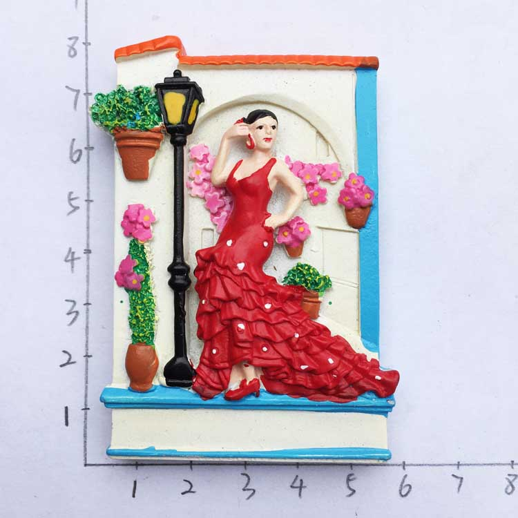 European tour souvenir flamenco girl stereo Fridge Magnet