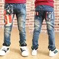 Fashion boys jeans trousers Geometric Flag boys jeans denim pants flag trousers for girls kids jeans boys winter