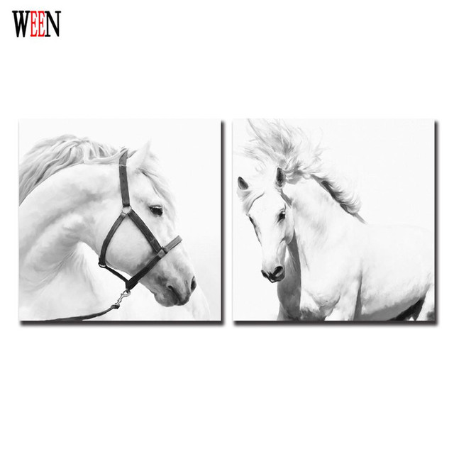 Framed White Horse Wall Christmas Canvas Pictures For Home Decor ...