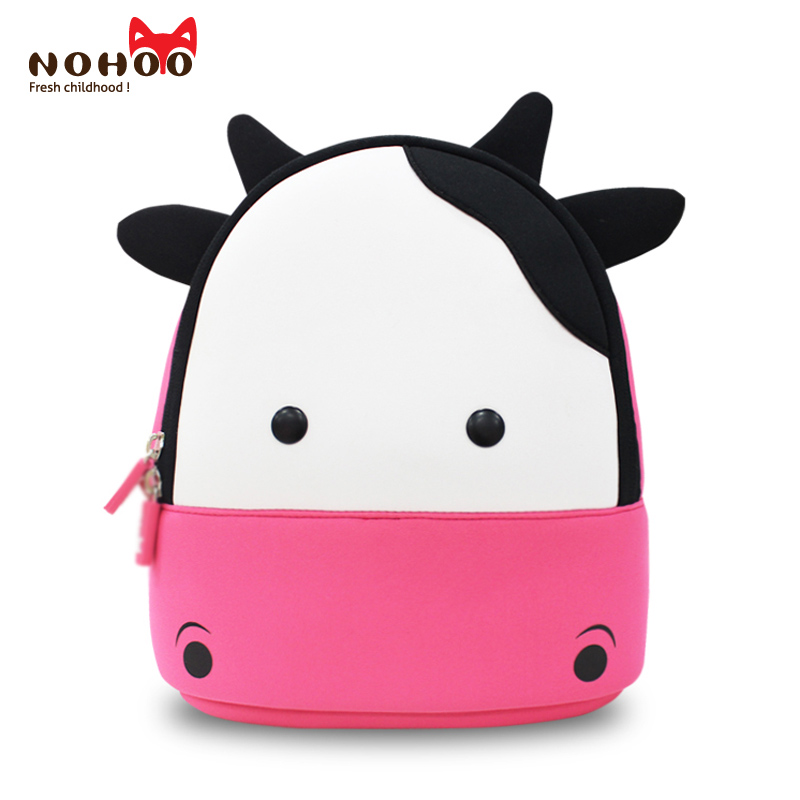 NOHOO Waterproof Kids Backpack 3D Cute Cow Cartoon Toddler Backpack Pre School Baby Children Sidesick Bags for 2-5 Years Old nohoo waterproof cute cats animals baby backpack kids toddler school bags for girls children school bags kids kindergarten bag