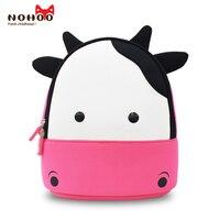 NOHOO New Arrival Animals Kids Baby Bags Waterproof Kindergarten 3D Cow School Bags For Girls Cute