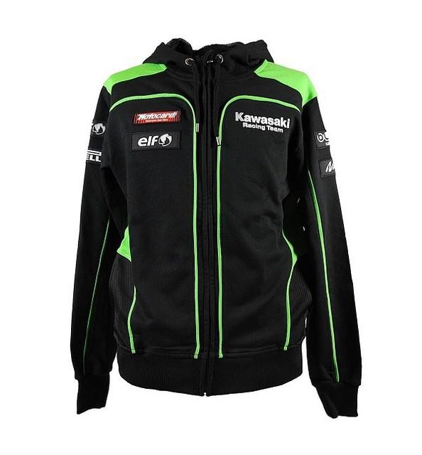 Envío gratis 2016 NUEVO Motocard Kawasaki Racing Team Negro/Verde Escudo Zip Up Hoodie Polar MOTOGP Moto VR