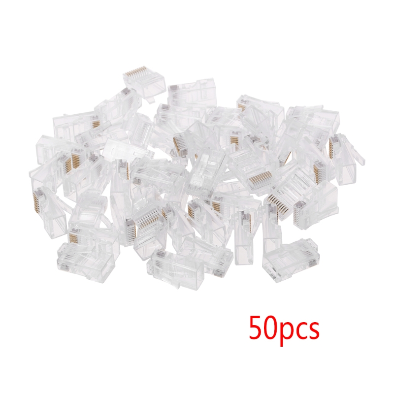 50 Pcs/Pack Stranded 10P10C Network Cable Connector RJ48 Crystal Plug Modular Network Tool Kit