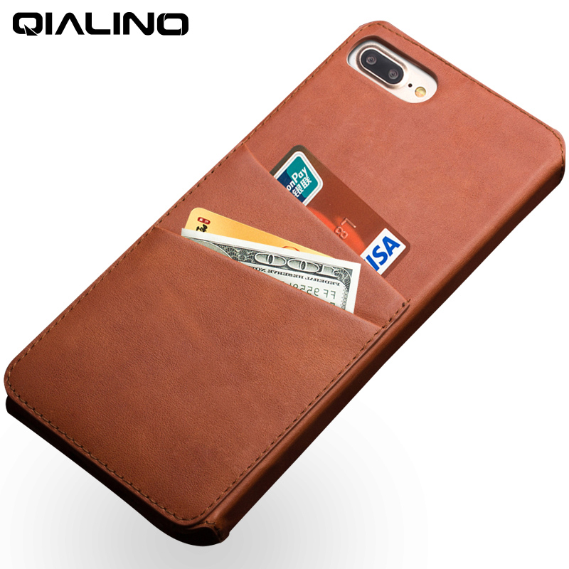 Qialino Leather Case For Iphone 7 Plus With Business Card Holder