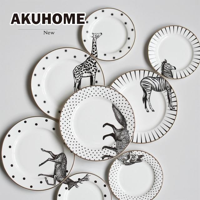 2 Pcs 6u00268 Inch Animal Combined Plates Set Ceramic Plates Fox Elk Giraffe Zebra Pattern Plates  sc 1 st  AliExpress.com & 2 Pcs 6u00268 Inch Animal Combined Plates Set Ceramic Plates Fox Elk ...