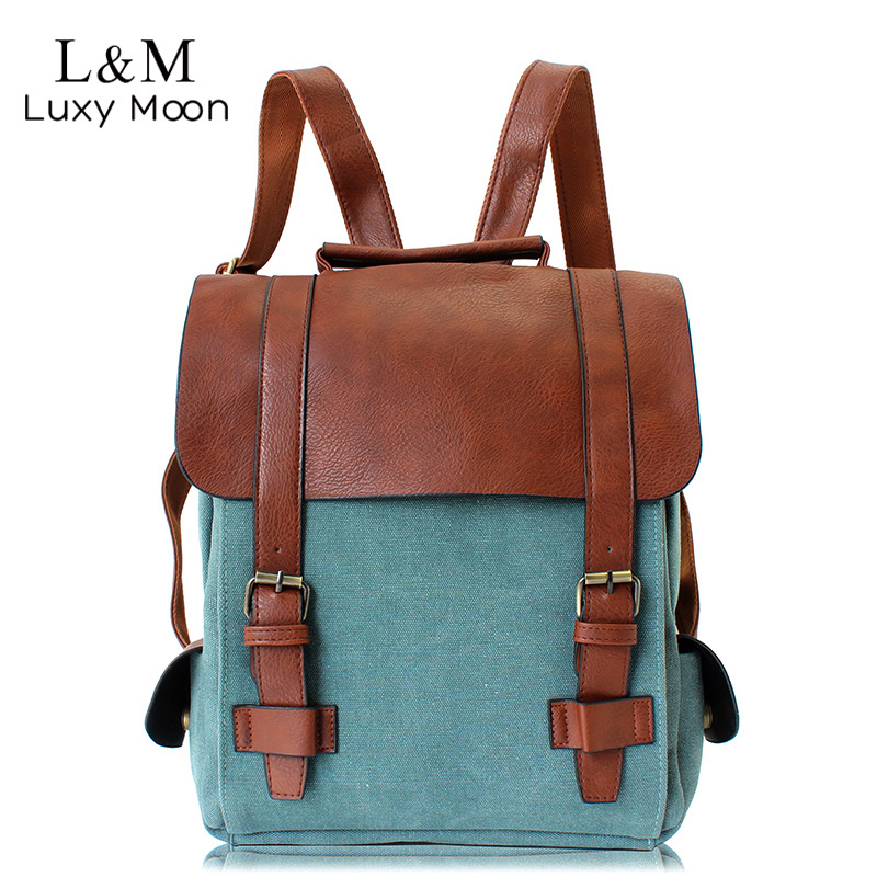 Canvas Backpacks Vintage School-Bags Teenage Girls Women Patchwork for Large High-Quality
