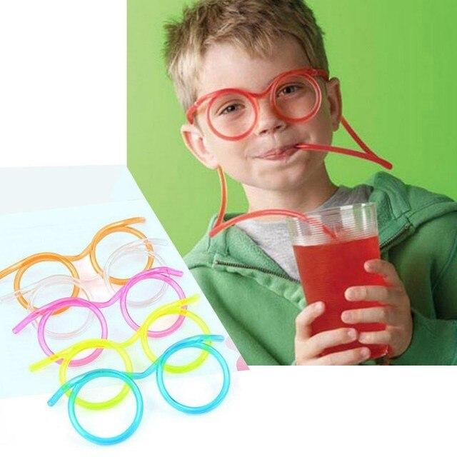Fun Plástico Macio Tubo de Óculos De Palha Palhas Bebendo Flexíveis Ferramentas Fontes Do Partido Crianças Suprimentos Bar Acessórios