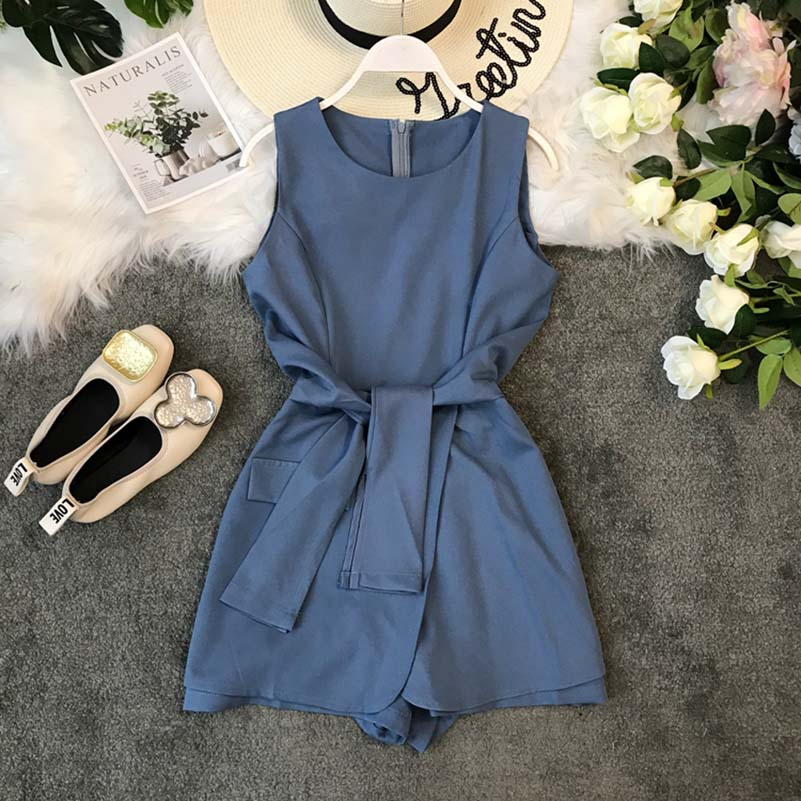 NiceMix Ladies  S Jumpsuit Summer Clothes Female 2019 Lace round neck Sleeveless Wide-legged Holiday Beach Women Rompers Plays