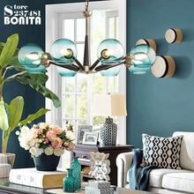 Подвесные светильники Стекло абажуры синий градиент молочно-белый прозрачный Кулон лампы простой американский современные подвесные лампы