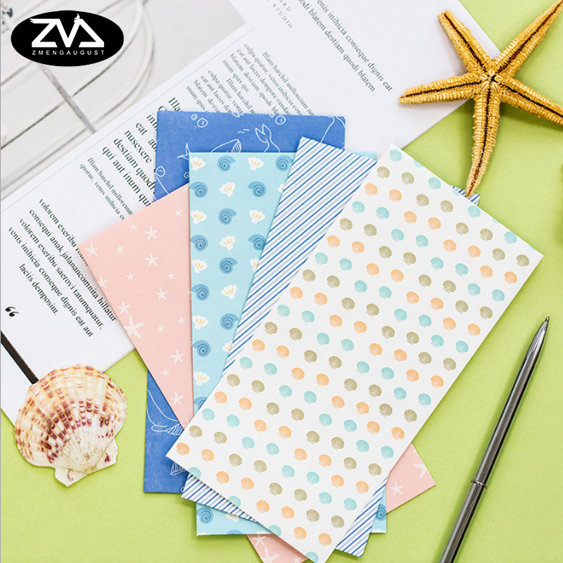 5pcs/lot Marine Style Series Paper Envelope Writing Paper Stationery Kawaii Birthday Christmas Card Envelopes School Supplies