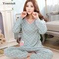 Pijamas Mulheres Primavera E Outono Pijamas de manga Longa Sleepwear 100% Algodão Com Decote Em V Pijamas Mulheres Salão Conjunto de Pijama Plus Size 4xl