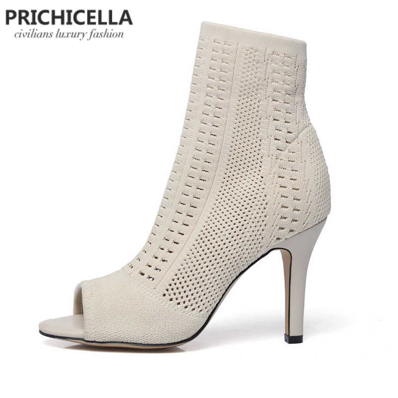 Prichicella женские бежевые вязаные с открытым носком высокий каблук ботильоны эластичные Носки пинетки