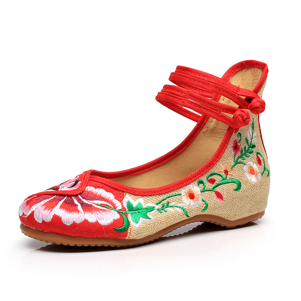 New Arrive Old Peking Cloth Embroidery Women Shoes Chinese Flats Mary Janes Casual Walking Dance Soft Shoes Woman Plus Size 41 vera mont платье
