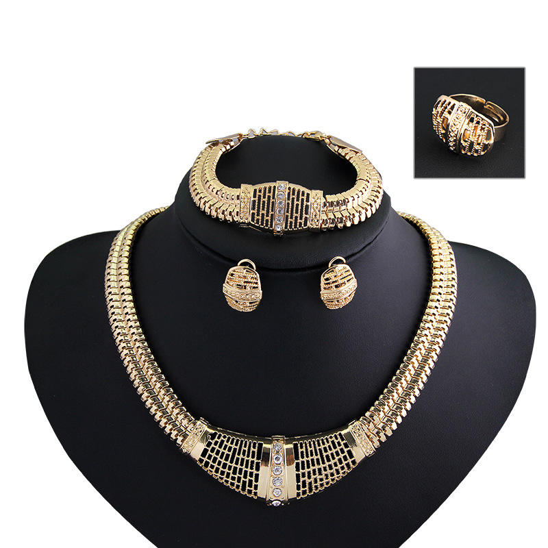 Новый Для женщин Модные украшения комплекты Золото выдалбливают цепь ожерелья серьги Регулируемый браслет кольцо ювелирных изделий и боле...