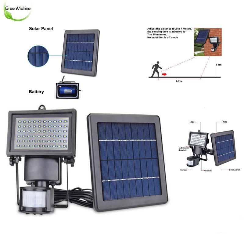 1Pc Solar Garden Wall 60Leds Lamp Outdoor Waterproof Motion Sensor Solar Lighting Split Energy Saving Light Control Sensor Lamp