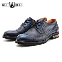 Retro Mens Wing Tip Brogue Shoes Vintage Genuine Leather Business Man Casual Shoes Lace Up Breathable
