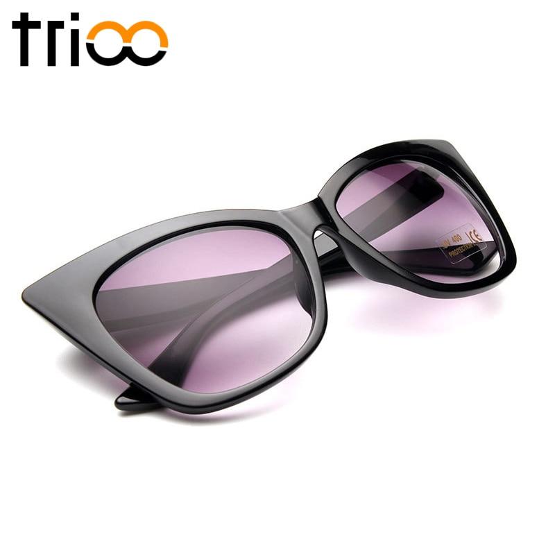 TRIOO Cat Eye Matte Women Sunglasses Brand Designer High Fashion Oculos de sol Cool Gradient lunette Female Summer Sun Glases