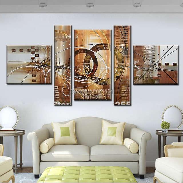 €36.5 |Moderne toile abstraite peinture murale gris beige fait à la main  huile photo mur toile art irrégulière pas cher maison décorative œuvre-in  ...