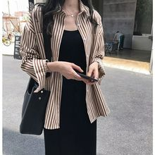 2019 Autumn New Womens Shirt Retro Fashion Loose Classic Striped Boyfriend Style Long Sleeve Female Shirts Casual Blouse 80s90s