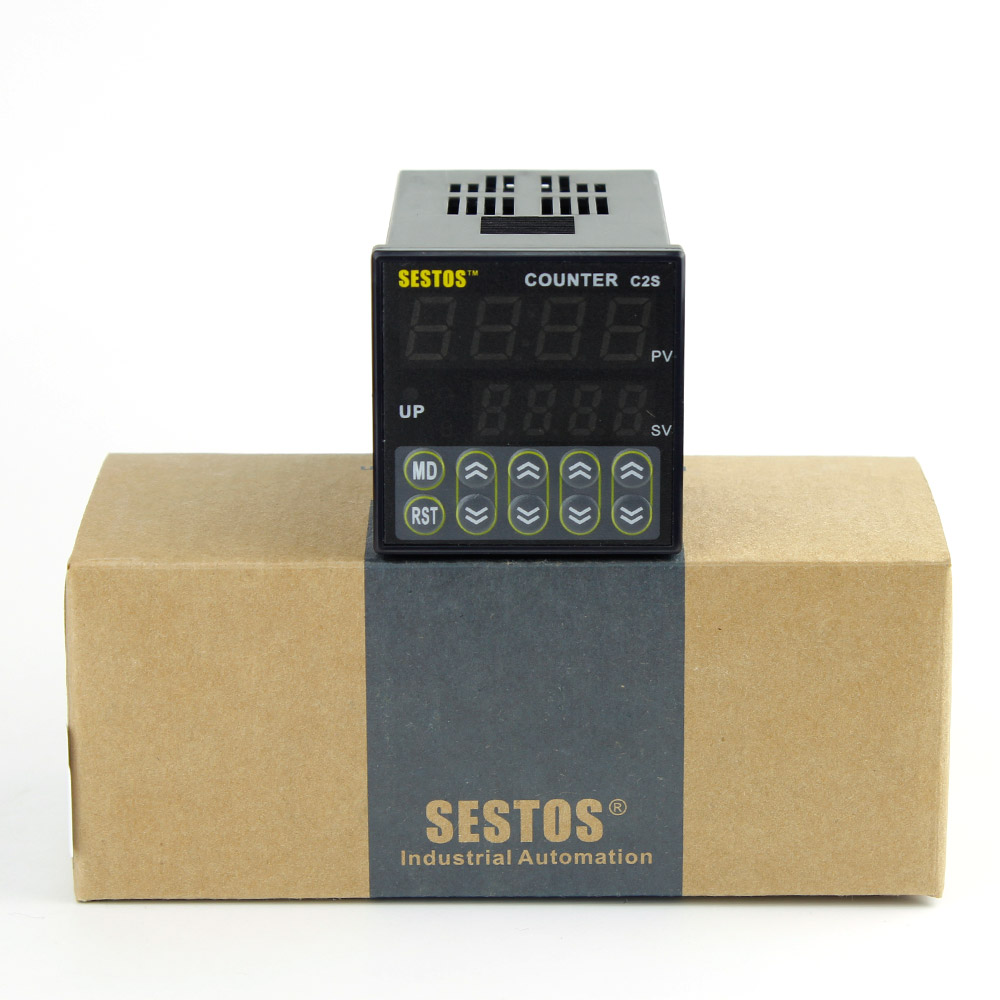 100-240V  Sestos  6 Preset Digital Preset Scale Counter Tact Switch Register 10KPCS Relay Output CE C2S-R-220